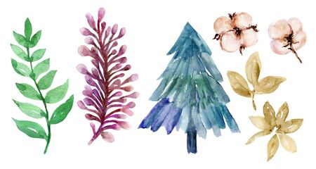 New year Christmas autumn plant foliage berry mistletoe poinsettia leaves abstract tree set watercolor colorful hand drawn for holiday party on white background