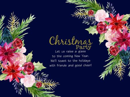 Christmas plant foliage leaves blossom poinsettia mistletoe rose watercolor colorful hand drawn for holiday party wreath bouquet  for invitation traditional flower