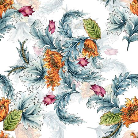 Seamless pattern with abstract fantasy Tulips lflowers and leaves western style Paisley or Damask jacobean  Watercolor Gouache hand paint