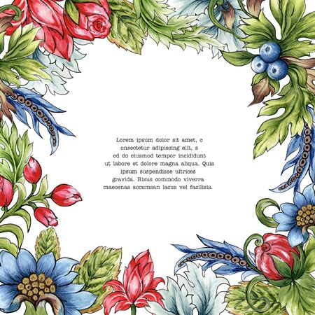Blurberry rose tuliip plant foliage leaves abstract watercolor colorful hand drawn for holiday party wreath bouquet for invitation frame border western barouqe style flower and plants 写真素材