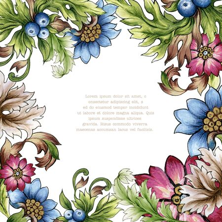 Blurberry Gerbera  chrysanthemum  plant foliage leaves abstract watercolor colorful hand drawn for holiday party wreath bouquet for invitation frame border western barouqe style flower and plants 写真素材