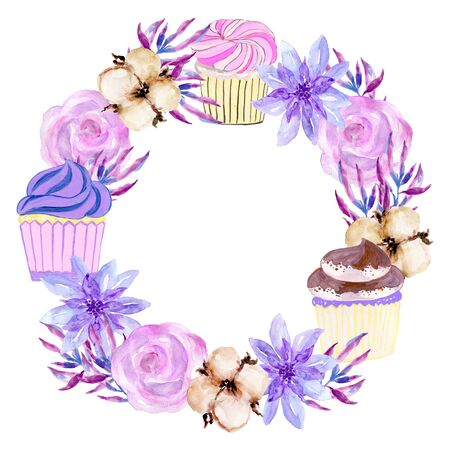 Watercolor traditional Asian new year and holiday with bakery cupcake and foliage leaf flower bouquet wreath hand painted on white background 写真素材