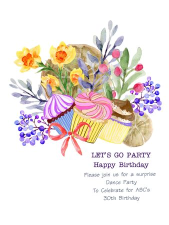 The beautiful of flower botanical and Bakery cupcake bread art Bouquet wreath Composition watercolor for card, invitation, backdrop Hand Painted