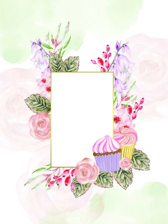 Beautiful frame invitation card with hand painted watercolor flower Botanical garden and Bakery cupcake bread on white background stock illustration for restaurant, card, invitation, wedding, festival