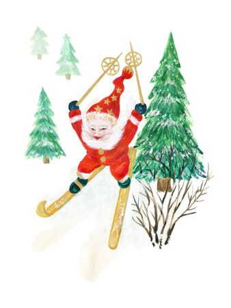 Watercolor gouache Santa Claus skier with skis in the woods fir forest christmas tree winter season on white background