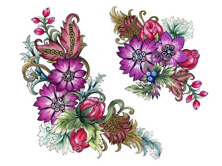 Watercolor illustration Botanical flower blueberry leaves of wild and garden and abstract leaves bouquet frame Baroque Style hand painted on white background
