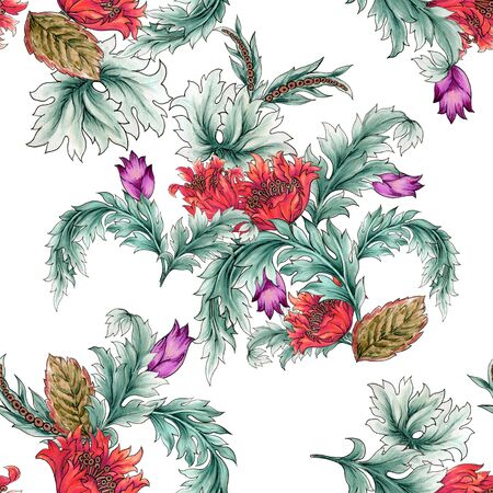 Watercolor illustration Botanical jacobean flower tulips of wild and garden and abstract leaves bouquet pattern Baroque Style hand painted 写真素材