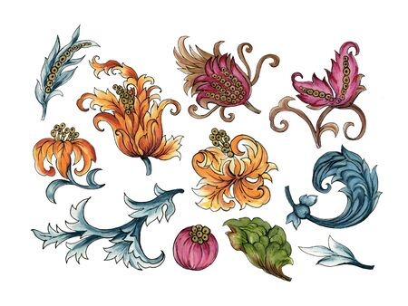 Baroque art watercolor Jacobean Paisley  Damask Ethnic abstract flower botanical elements for wallpaper, fabric, wrapping, card