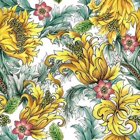Baroque botanical pattern with branch leaves bouquet of flowers, peony, tulips, pink flower petal for invitation fabric textile 写真素材