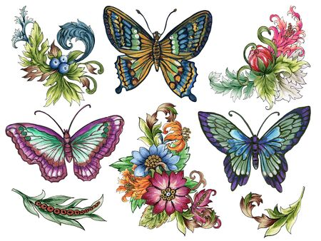 Watercolor Jacobean Butterfly Paisley  Damask Ethnic abstract flower botanical elements and wreath frame for wallpaper, fabric, wrapping, card, invitation