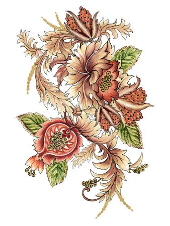 Baroque art brown color watercolor Jacobean Paisley  Damask Ethnic abstract flower botanical bouquet for wallpaper, fabric, wrapping ,backdrop