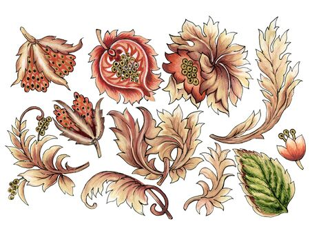 Baroque art brown color watercolor Jacobean Paisley  Damask Ethnic abstract flower botanical elements for wallpaper, fabric, wrapping, card