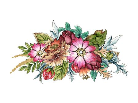 Watercolor illustration Botanical flower pink mauve purple of wild and garden and abstract leaves foliage bouquet frame Baroque Style hand painted on white background