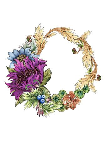 Watercolor illustration Botanical flower blue violet purple of wild and garden and abstract leaves foliage wreath Baroque Style hand painted on white background