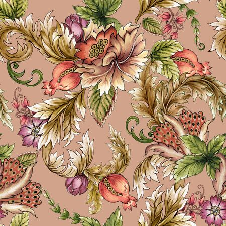 Gold and colorful vintage Blossom botanical iseamless repeat pattern Luxury background stock illustrationPersian Pattern, Baroque Style, backdrop, card