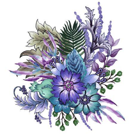 The beautiful of flower art Ancient foliage botanical bouquet Composition watercolor Gouache Hand Painted