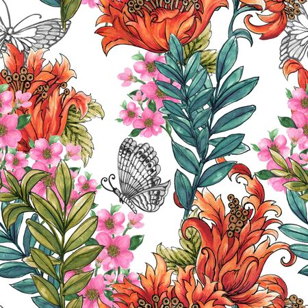 Watercolor Gouache Set of tulip wild flower blossom Abstract flowers and leaves and butterfly colorful Bouquet on white background Banco de Imagens