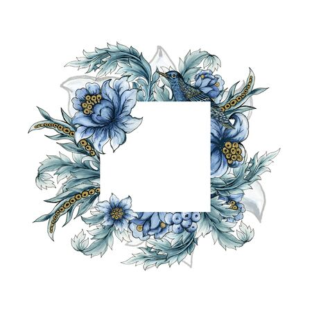 Beautiful rococo baroque with tropical forest flowers and birds blue blossom tree spring branches leaves frame on white background