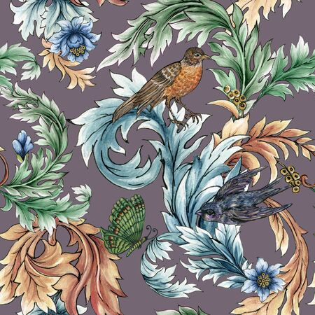 Beautiful rococo baroque with tropical forest flowers and birds tree spring branches leaves pattern on white background