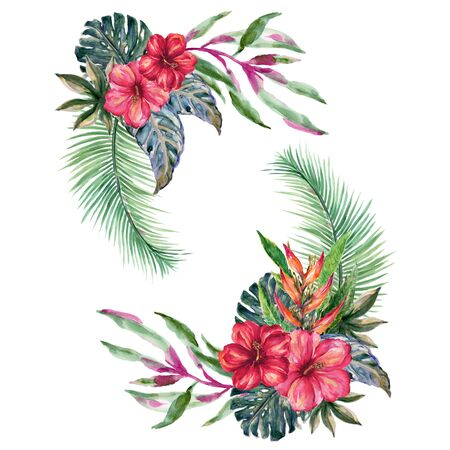 Paradise beach tropical party flower fruit leaves nature template invitation card botanical and blue green colorful illustration hand drawn on white background Standard-Bild - 140175126