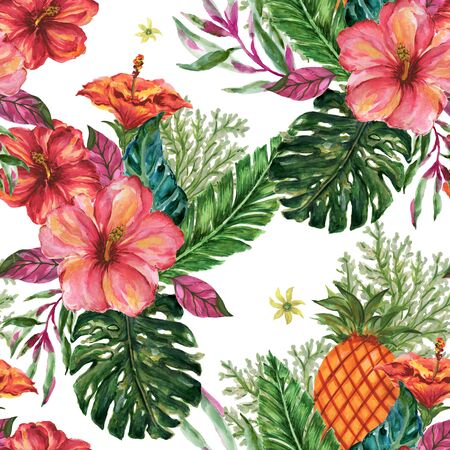 Watercolor gouache summer beach jungle seamless pattern tree, leaf, fruit, food, botanice, doodle background Hand painted tropical illustration