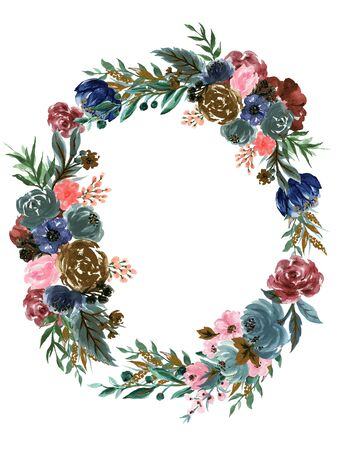 Set of flowers, leaves and branches, Imitation of watercolor, isolated on white wreath bouquet floral and herbs garland Hand drawn illustration