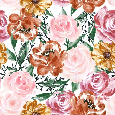 Seamless pattern with flowers blossom and leaves western style for trendy fabric print fashion Watercolor hand paint