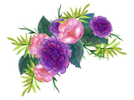 Watercolor abstract  flowers and carnation pink purple violet design wedding bouquet border illustration hand painting