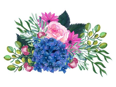 Watercolor illustration rose pale pink hydrangea blue  gerbera foliage green leaf   frame card bouquet blossomhand paint