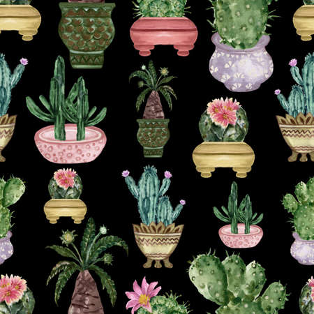 Watercolor hand drawn illustration with cactus and succulents Green house botanical plants illustrations seamless pattern background backdrop