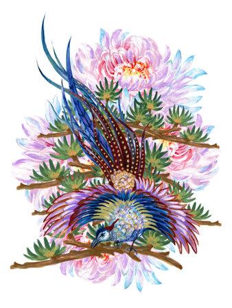 Colorful asian phoenix  bird pheasant botanical Illustration hand drawing traditional folk fashion ornament elements bouquet on white background 版權商用圖片
