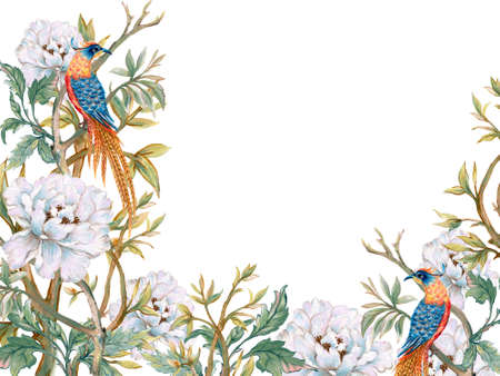 Hand drawn greeting card, calendar, planner inspired by ancient chinese Korean and Japan forest tree garden and pheasant or phoenix bird background backdrop watercolor gouache 版權商用圖片