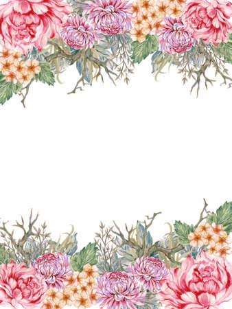 Watercolor Illustration peonies rose sakura Chrysanthemum Blossom green leaves foliage oriental style for invitation frame border card backdrop background pattern