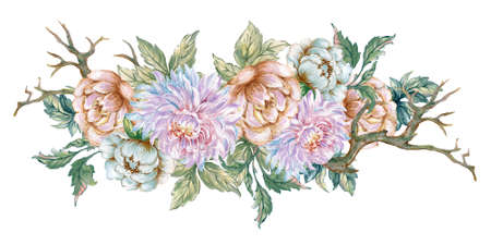 Watercolor Illustration bouquet  peonies Chrysanthemum Blossom green leaves foliage dry wood oriental style for invitation frame border card fabric print