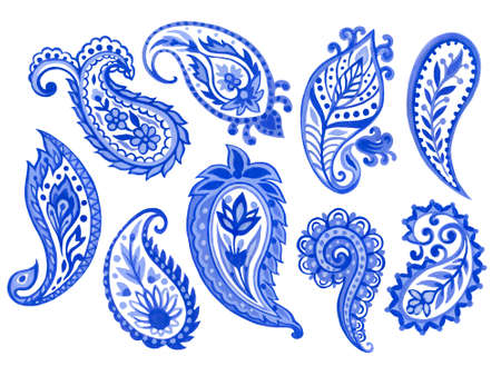 Set of paisley eastern outline flower and feather mandala folk henna tattoo blue indigo elements on white background hand painting 版權商用圖片