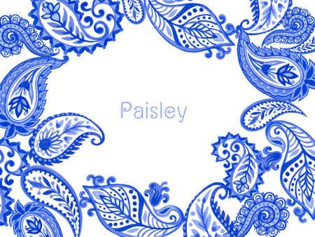 Set of paisley eastern outline mandala folk henna tattoo blue indigo invitation card on white background hand painting 版權商用圖片 - 165056399