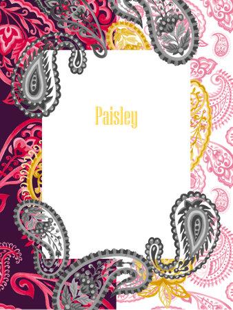 watercolor illustration paisley eastern outline flower leaves and tribal folk persian indian pink black gold invitation card 版權商用圖片
