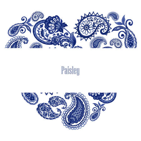 watercolor illustration paisley eastern outline flower leaves and tribal folk persian indian blue indigo invitation card