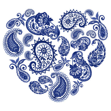 Watercolor Illustration modern outline paisley eastern mandala folk henna tattoo indigo blue elements isolated heart shape on white background hand paint 版權商用圖片 - 165135986