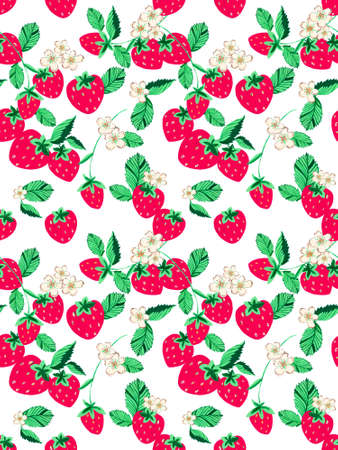 Watercolor hand painted strawberry flower leaf background for web pages, wedding invitations, greeting cards, postcards, textile design, package design, patterns, prints