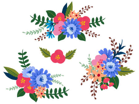 watercolor gouache illustration colorful abstract little flower and foliage leaves elements isolated bouquet on white background