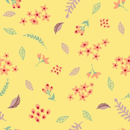 Watercolor gouache abstract wild field flower foliage hand drawning illustration seamless pattern background 版權商用圖片