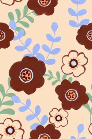 Watercolor gouache brown abstract blossom and leaves design for bridal party textile texture repeat pattern illustration hand painting 版權商用圖片