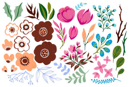 Watercolor gouache pink brown peach color blossom and foliage leaves blue green ornament isolated elements illustration hand painting