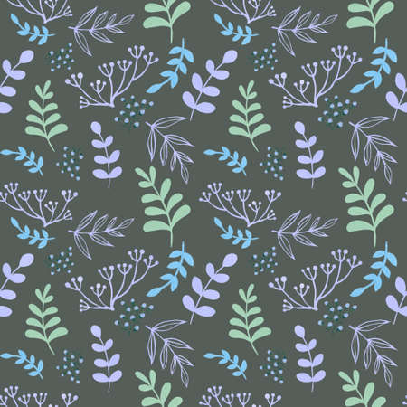Summer and spring design seamless pattern leaves foliage botanical garden watercolor gouache illustration by hand painting