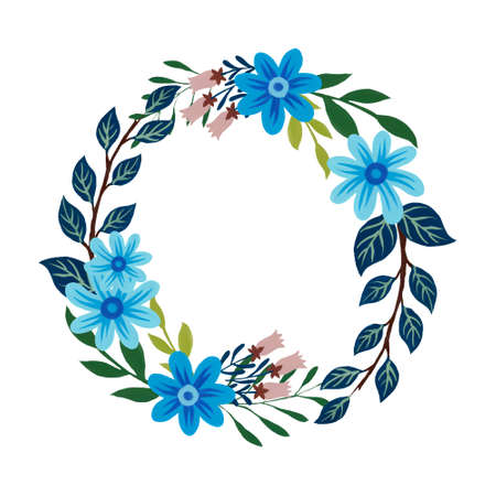Summer and spring design floral leaves foliage botanical garden watercolor gouache illustration wreath label template on white by hand paint