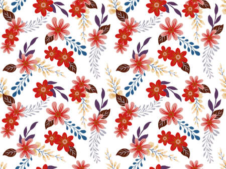 Summer and spring floral design seamless pattern cosmo gerbera daisy leaves flower foliage botanical garden watercolor gouache illustration by hand painting 版權商用圖片