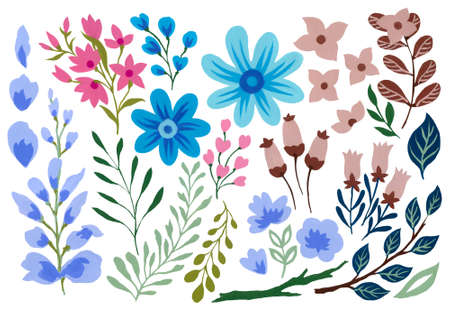 Summer and spring design floral leaves foliage botanical garden watercolor gouache illustration isolated element hand painting