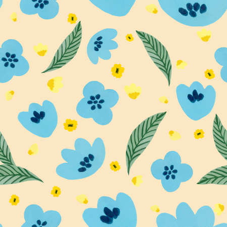 Watercolor illustration Botanical leaves collection foliage abstract blue and yellow flower leaves pattern by han