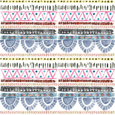 Ethnic afican seamless pattern Horizontal stripes colorful print for your textiles wrapping paper card digital clipart illustration on white 版權商用圖片